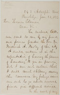 Autographs:Authors, John J. Anderson (1821-1906, American Historical Writer). AutographLetter Signed. Brooklyn: Jan. 22, 1877. Two small octavo...