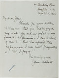 Autographs:Authors, Jane Abbott (1881-1968, American Writer). Autograph Letter Signed. Buffalo: April 24, 1930. Approximately 7 x 5.5 inches. On...