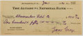 Autographs:Authors, Zane Grey. (American Writer of Western Novels, 1872-1939). SignedPersonal Check. Altadena: 1 Jan, 1930. Approximately 2...