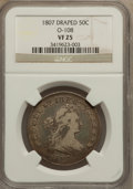 Early Half Dollars: , 1807 50C Draped Bust VF25 NGC. O-108. NGC Census: (49/1323). PCGSPopulation (102/674). Mintage: 301,076. Numismedia Wsl. ...
