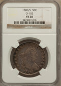 Early Half Dollars: , 1806/5 50C VF20 NGC. O-103. NGC Census: (12/936). PCGS Population(27/133). Numismedia Wsl. Price for problem free NGC/PC...
