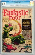 Silver Age (1956-1969):Superhero, Fantastic Four #1 (Marvel, 1961) CGC VG 4.0 Off-white to white pages....