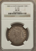 Bust Half Dollars: , 1820 50C Square Base Knob 2, Large Date AU50 NGC. O-106. PCGSPopulation (11/47). (#6122). From The...