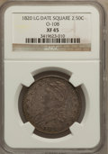 Bust Half Dollars: , 1820 50C Square Base No Knob 2, Large Date XF45 NGC. O-108. PCGSPopulation (25/58). (#6122). From ...