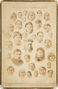 Photography:Cabinet Photos, Carlisle Indian School: Albumen Cabinet Photo of Thirty-FourChildren by J.N. Choate, Circa 1880s. ...