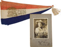 "Autographs:Celebrities, ""The Two Bills"" Farewell Souvenir Felt Pennant and Pawnee BillPhotograph Inscribed ""To My Friend/ Wm Baugh/ G. W. Lilli...(Total: 2 Items)"