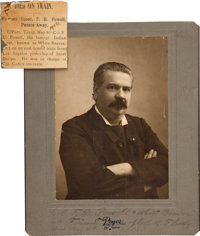 """Studio Photograph of Wild-West Showman Franklin D. """"White Beaver"""" Powell With Contemporary Newspaper Obituary..."""
