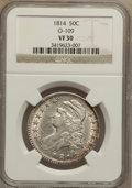 Bust Half Dollars: , 1814 50C VF30 NGC. O-109. NGC Census: (25/517). PCGS Population(30/450). Mintage: 1,039,075. Numismedia Wsl. Price for pr...