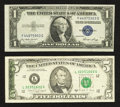 Error Notes:Error Group Lots, Fr. 1614 $1 1935E Silver Certificate. Extremely Fine;. Fr. 1980-L$5 1988A Federal Reserve Note. Very Fine.. ... (Total: 2 notes)
