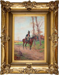 """Military & Patriotic:Foreign Wars, Painting: Paul Louis Narcisse Grolleron, """"First Empire Mounted Dragoon.""""..."""