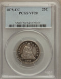 Seated Quarters: , 1878-CC 25C VF20 PCGS. PCGS Population (4/263). NGC Census:(0/224). Mintage: 996,000. Numismedia Wsl. Price for problem fr...