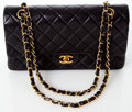 Luxury Accessories:Bags, Heritage Vintage: Chanel Classic Black Lambskin LeatherDouble Flap Bag with Gold Hardware. ...