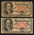 Fractional Currency:Fifth Issue, Two Fr. 1380 50¢ Fifth Issue Notes Very Good or Better.. ...(Total: 2 notes)