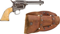 Rare Early Rimfire Composite Colt Single Action Revolver together with Period Holster and Early Rimfire Cartridge