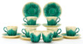 Ceramics & Porcelain, EIGHT WEDGWOOD CAULIFLOWER MAJOLICA CUPS AND SAUCERS . Circa 1900. Marks: WEDGWOOD, MADE IN ENGLAND, 1W30. 5... (Total: 16 Items)