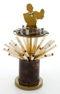 Decorative Arts, French:Other , AN ART DECO BRASS AND BAKELITE BARTENDER-FORM CIGARETTE DISPENSER .Art Metal, Newark, New Jersey, circa 1930. With partial ...