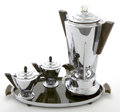 Decorative Arts, American, A FOUR PIECE MANNING-BOWMAN CHROMED METAL AND BAKELITE COFFEE SET .Manning-Bowman Company, Meriden, Connecticut, circa 1928... (Total:4 Items)