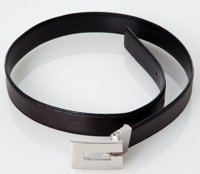 Heritage Vintage: Gucci Black Leather Silvertone Hardware Push Buckle Trim Belt