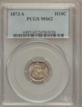 Seated Half Dimes: , 1873-S H10C MS62 PCGS. PCGS Population (38/165). NGC Census:(36/178). Mintage: 324,000. Numismedia Wsl. Price for problem ...