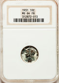 Mercury Dimes: , 1931 10C MS64 Full Bands NGC. NGC Census: (40/65). PCGS Population(146/178). Mintage: 3,150,000. Numismedia Wsl. Price for...