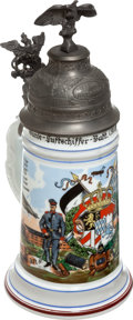 Military & Patriotic:WWI, Reproduction WWI German Zeppelin Battalion Regimental ReservistStein....