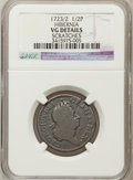 Colonials, 1723/2 1/2P Hibernia Halfpenny -- Scratches -- NGC Details. VG. NGCCensus: (2/15). PCGS Population (1/45). (#183)...