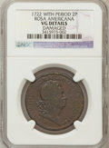Colonials, 1722 2PENCE Rosa Americana Twopence--Damaged--NGC Details. VG. NGCCensus: (0/25). PCGS Population (0/13). (#116)...