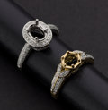 Estate Jewelry:Rings, Two Gold & Diamond Mounts Set For A Center Stone. ... (Total: 2Items)