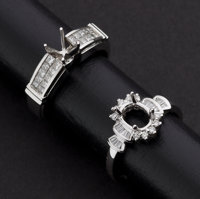 Two Gold & Diamond Ring Mounts Set For A Center Stone