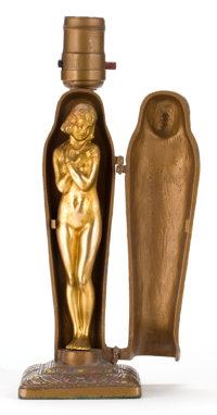 A LOUIS V. ARONSON (AMERICAN, 1869-1940) EROTIC COLD PAINTED FIGURAL BRONZE LAMP: THE MUMMY