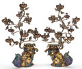 Asian:Chinese, A PAIR OF CHINESE CLOISONNÉ FOO DOG TORCHIERES . Maker unknown,Chinese, late Qing dynasty . 30 inches high (76.2 cm). ... (Total:4 Items)