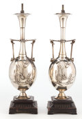 Decorative Arts, French:Lamps & Lighting, A PAIR OF CAHIEUX FRENCH SILVERED BRONZE LAMPS . Designed by HenryCahieux (French, 19th century). Cast by Ferdinand Barbedi...(Total: 2 Items)