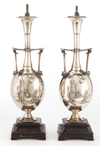 A PAIR OF HENRY CAHIEUX (French, 19th century) SILVERED BRONZE LAMPS Designed by Henry Cahieux (French, 19th cent