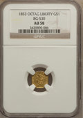 California Fractional Gold: , 1853 $1 Liberty Octagonal 1 Dollar, BG-530, R.2, AU58 NGC. NGCCensus: (25/49). PCGS Population (104/91). (#10507)...