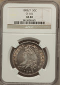 Bust Half Dollars: , 1808/7 50C XF40 NGC. O-101. NGC Census: (20/98). PCGS Population(33/90). Numismedia Wsl. Price for problem free NGC/PCGS...