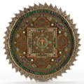 Asian:Other, A NEPALESE SILVERED AND GILT COPPER MANDALA WITH HARDSTONES ANDGLASS . Maker unknown, Nepalese, 19th century. Marks:H.N....