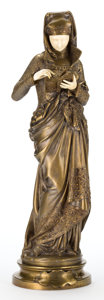Bronze:European, AN ALBERT-ERNEST CARRIER-BELLEUSE (FRENCH, 1824-1887) GILT BRONZEAND IVORY FIGURE: LA LISEUSE . Paris, France, circ...