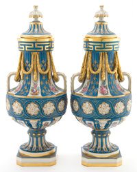 A PAIR OF CARL THIEME DRESDEN PORCELAIN COVERED VASES Saxonian Porcelain Factory, Dresden, Germany, circa 1900