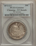 Seated Half Dollars, 1873-CC 50C No Arrows -- Cleaned -- Genuine PCGS. VF Details. PCGSPopulation (3/69). NGC Census: (1/29). Mintage: 122,500....