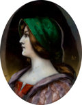 Decorative Arts, Continental:Other , A FRAMED LIMOGES ENAMEL PLAQUE ON COPPER: WOMAN IN RENAISSANCEDRESS . Maker unknown, Limoges, France, circa 1900. Signed to...