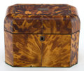 Decorative Arts, British:Other , A REGENCY TORTOISESHELL DOUBLE COMPARTMENT TEA CADDY . Makerunknown, England, circa 1815. Unmarked. 5-3/8 inches high x 7-...