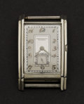 Timepieces:Wristwatch, Movado Vintage 18k White Gold Rectangular. ...