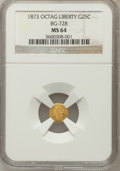 California Fractional Gold, 1873 25C Liberty Octagonal 25 Cents, BG-728, R.3, MS64 NGC. NGCCensus: (11/18). PCGS Population (47/67). (#10555)...