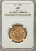 Indian Eagles: , 1911-S $10 AU55 NGC. NGC Census: (51/187). PCGS Population(53/177). Mintage: 51,000. Numismedia Wsl. Price for problem fre...