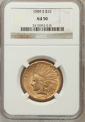 Indian Eagles: , 1909-S $10 AU50 NGC. NGC Census: (23/632). PCGS Population(38/602). Mintage: 292,350. Numismedia Wsl. Price for problem fr...