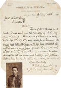 Miscellaneous:Ephemera, 1885 California Sheriff's Letter and Mug Shot of ChineseCriminal.... (Total: 2 Items)