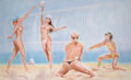 Pin-up and Glamour Art, SONIA ROJI (American, 20th Century). The Volleyball Game.Watercolor and gouache on board. 27.5 x 59.75 in.. Signed lowe...