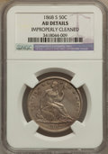 Seated Half Dollars: , 1868-S 50C -- Improperly Cleaned -- NGC Details. AU. NGC Census:(4/30). PCGS Population (8/40). Mintage: 1,160,000. Numism...