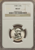 Washington Quarters: , 1948-S 25C MS67 NGC. NGC Census: (250/1). PCGS Population (42/1).Mintage: 15,960,000. Numismedia Wsl. Price for problem fr...