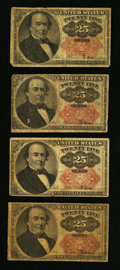 Fractional Currency:Fifth Issue, Fr. 1308 25¢ Fifth Issue Fine;. Three Fr. 1309 Fifth Issue Notes Very Good or Better.. ... (Total: 4 notes)